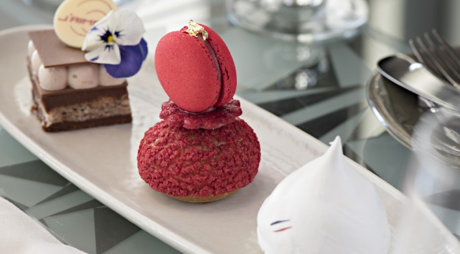 Milk chocolate and hazelnut  entremets Raspberry religieuse Meringue and chestnut Mont Blanc