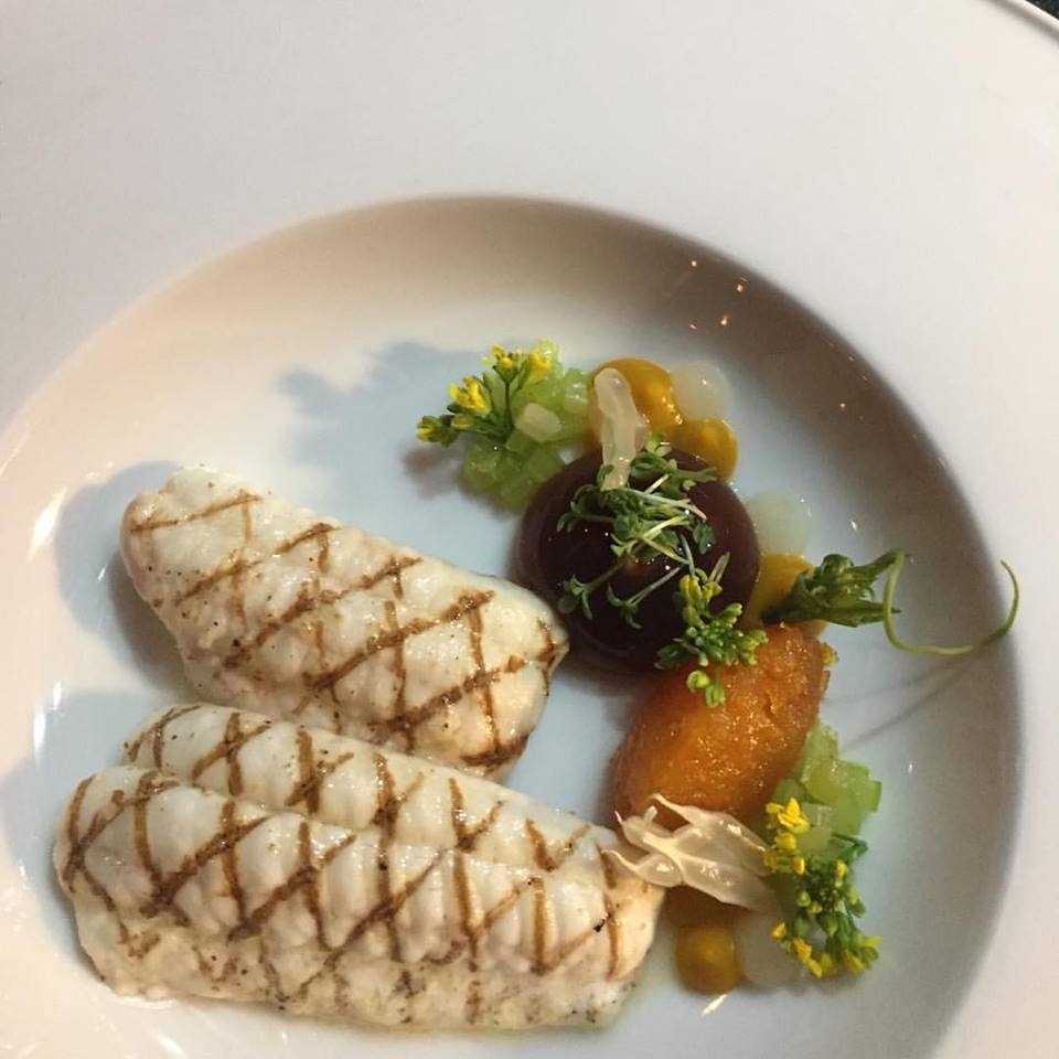 Sole with pumpkin, abricot, celery & crustacean sauce.