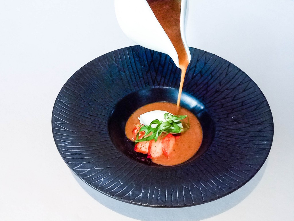 Verbena -scented lobster bisque served with pineapple