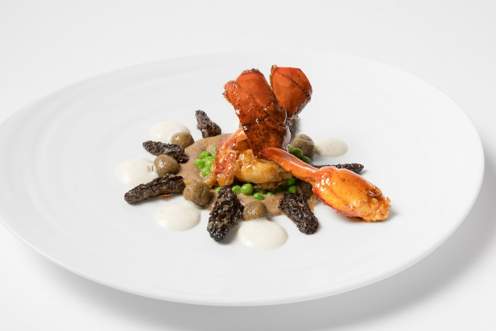 Lobster served with morels, gnocchi, peas and green cardamom  emulsion