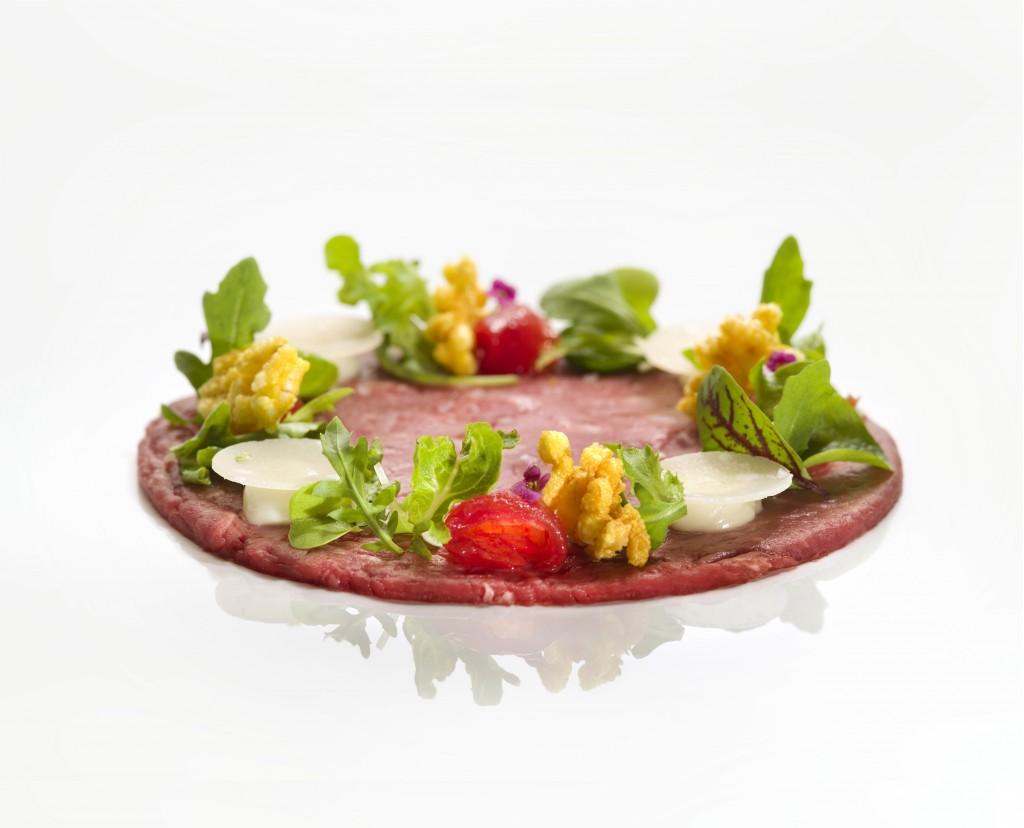 Fassona beef carpaccio, Parmigiano Reggiano cheese, summer salad