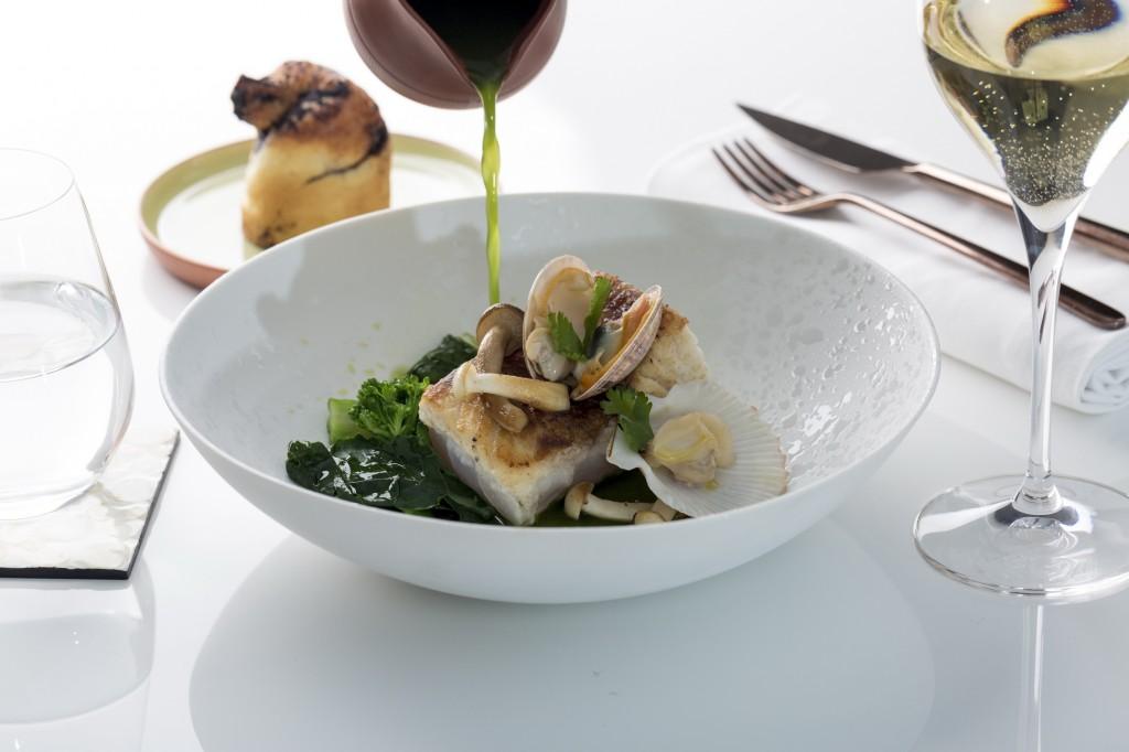 Seabass, mushrooms and mushroom siphon