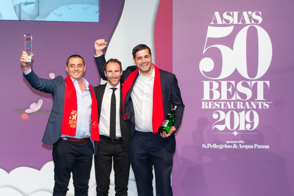 Julien Royer and Steven Mason, Odette, winner of The Best Restaurant in Asia, with Stefano Marini,  Director, International Business Unit  S.Pellegrino & Acqua Panna