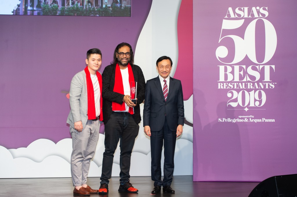 Gaggan Anand and Rydo Anton, Gaggan, winner of The Best Restaurant in Thailand, with Dr. Alexis Tam Chon Weng, Secretary Social Affairs and Culture of the Macao SAR Government