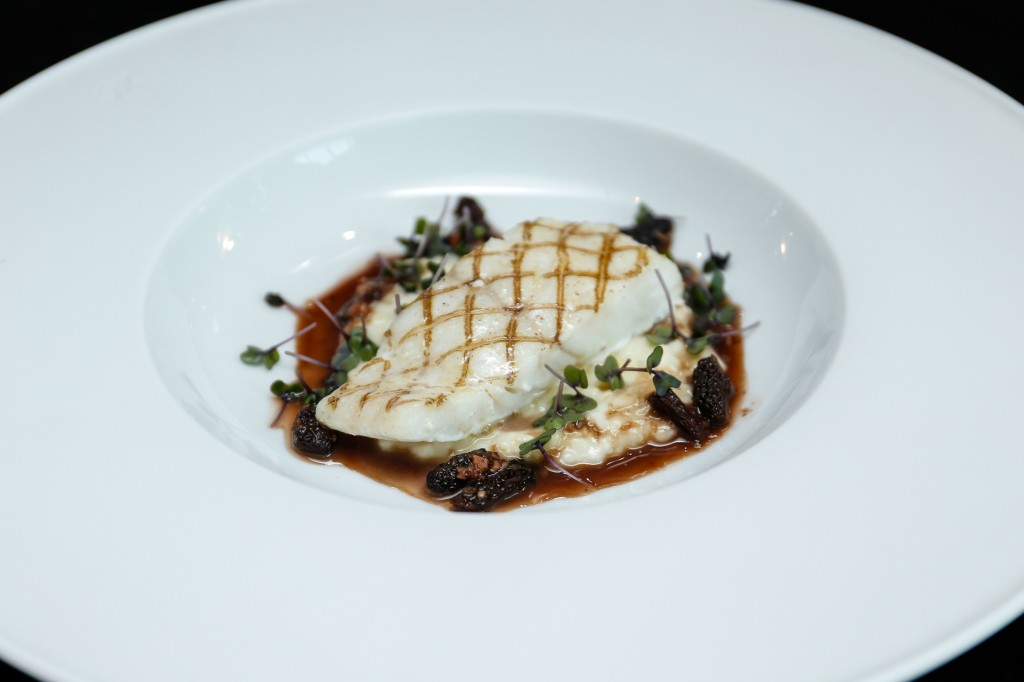 3 Grilled North Sea turbot cauliflower risotto, morel, epoisses and port