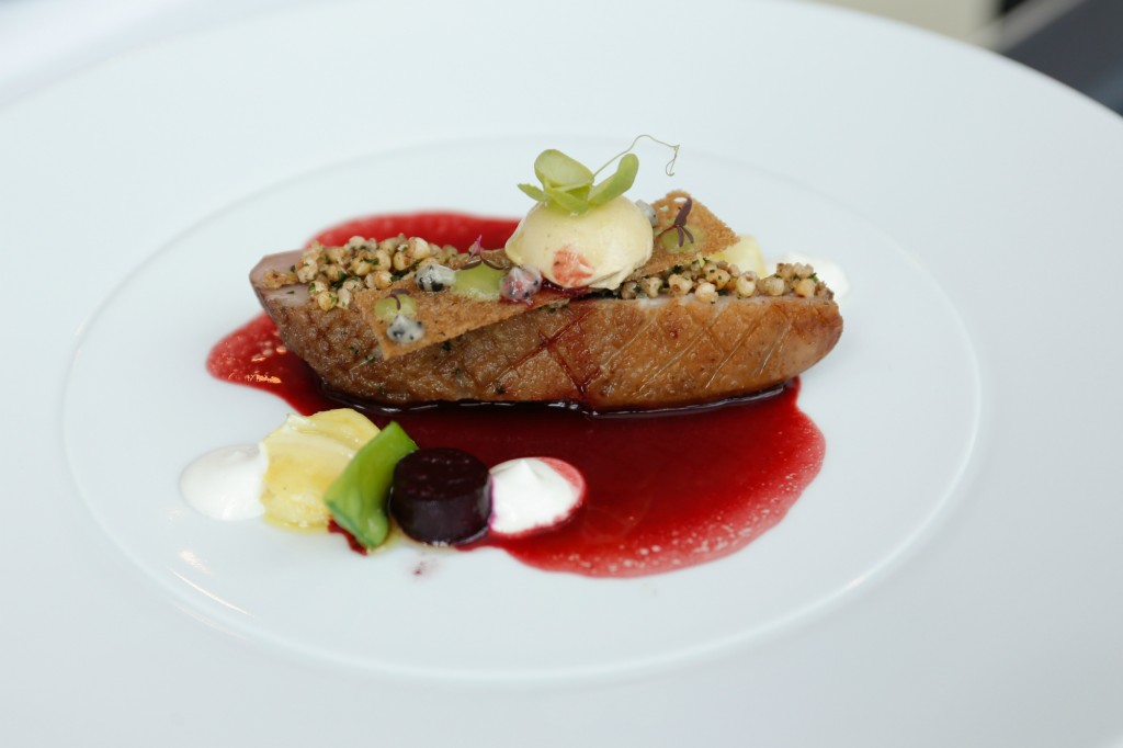 5 Roasted Dutch farm duck with goat cheese, candied duck liver, smoked beetroot with beetroot sauce and truffle cream
