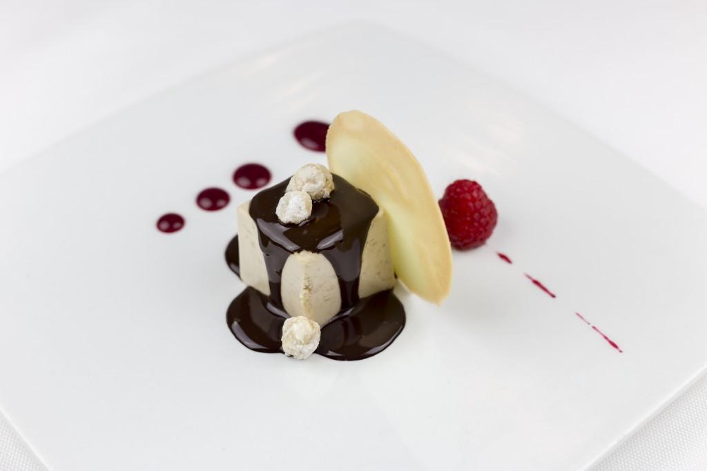 Menu_Piedmont hazelnut bavaroise with evo dark chocolate ganache and hazelnut sand