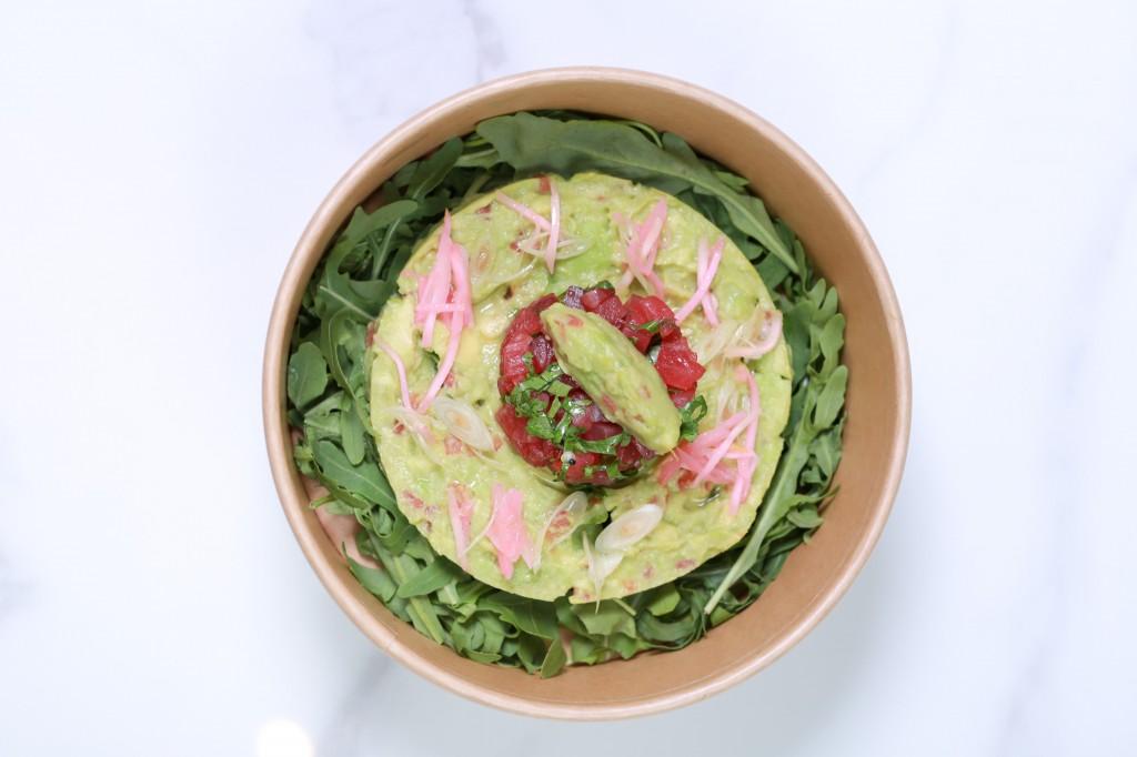 Avocado and tuna tartare, micro leaves, ginger and lemongrass  dressing
