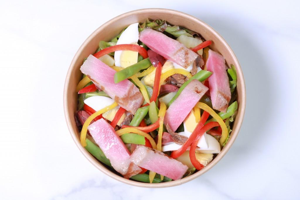 "Grilled fresh tuna; ""nicoise"" salad"