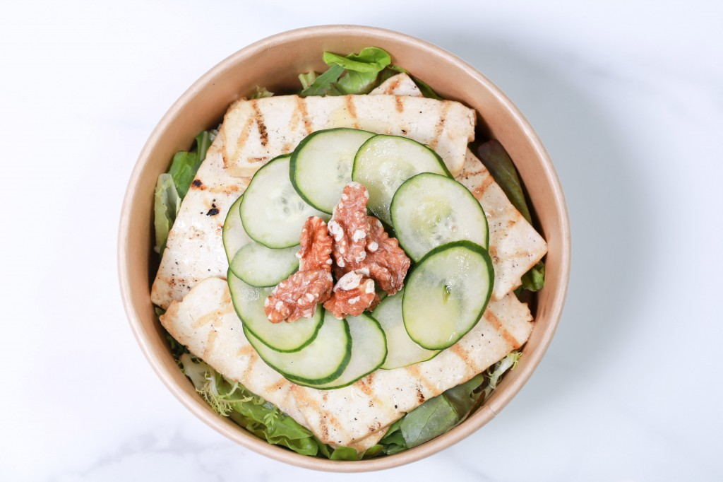Melange of organic leaves, grilled tofu, cucumber, walnuts, lime  vinaigrette